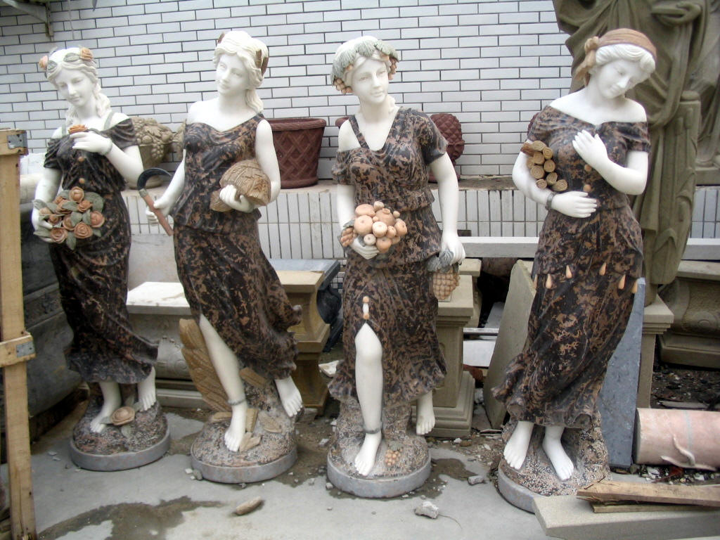 Four Seasons Statues Marble Set 4 Statue Garden Sculptures