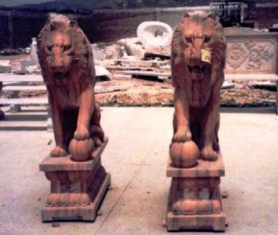 Marble Lion Statues, Hand Carved Animal Statuary.