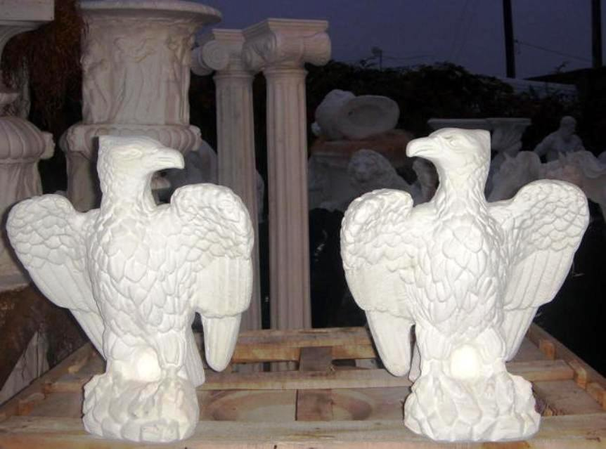 Eagle Statue Set In Carved, Cast Marble Outdoor Statue, Cast Marble Indoor  Statue, Animal Garden Statue