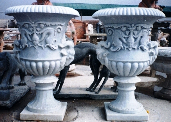 Hand Carved Flower Pots, Carved Stone Planters Italian planters estate size large flower pots