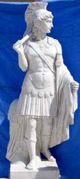 Carved Marble Statue , Roman Soldier Sculpture Stone