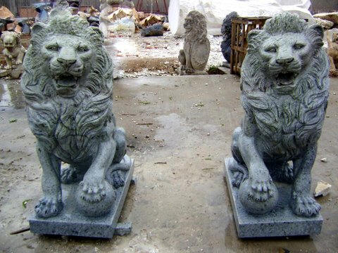 Lions Statue Animal Of Set In Green Marble Italian Statuary