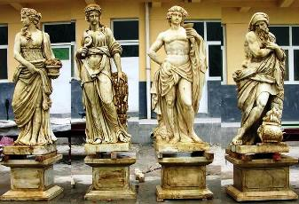 4 season Large statue Classical Greek,FOUR SESONS marble STATUES 4 SEASONS SET STATUE AND BASE  Roman, Italian Statues.
